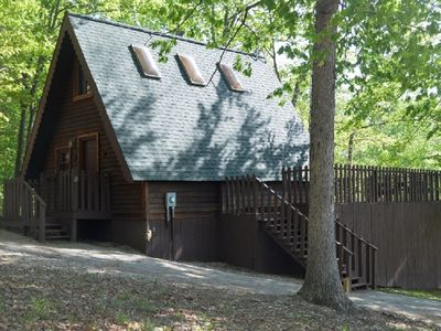 Photo for Cedar A Frame Chalet cabin 5 with HOT TUB on Patoka Lake So. Indiana