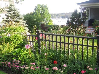 View of Gardens and Harbor From Cottage