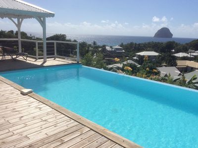 Photo for Le Diamant: Charming independent apartment, swimming pool and panoramic sea view