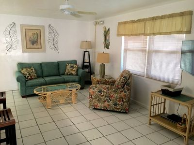 Relax in our spacious living room after a great day of sunshine at the beach!!!