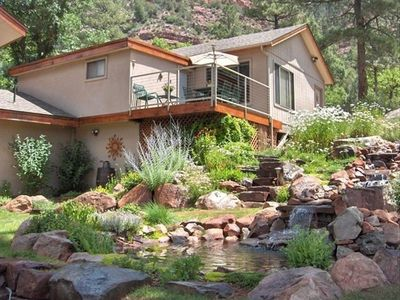 Bunkhouse with Waterfall & Pond