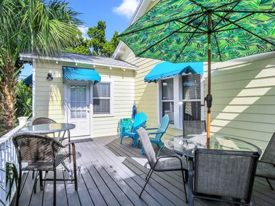 Photo for BEACH VIEW! Charming Cozy Cottage. Best Location 1BR/1BA Deck,Patio.,Beach Gear!