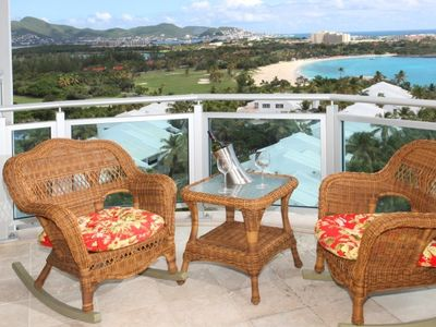 Our main patio (1 of 3) with views of Mullet beach and the golf course..