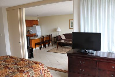 1 bedroom condo's have televisions in the bedroom and living room. 12th floor