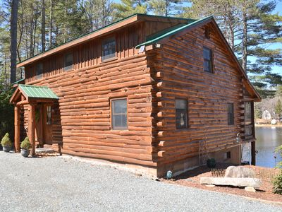 Photo for Waterfront Log Home On 220 Acre Hermit Lake In The Lakes Region!