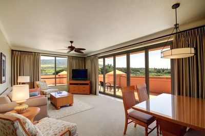 Spacious, light, living area. Folding doors can be opened to the huge lanai