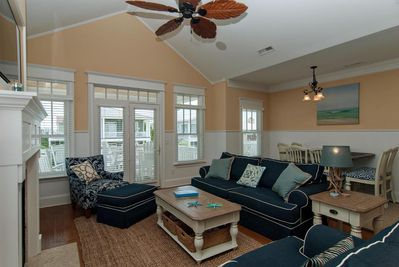 Living room with covered porch.