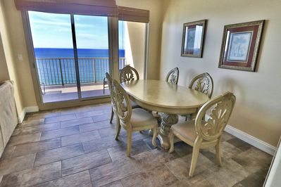 Dining table with a view of the Gulf of Mexico!
