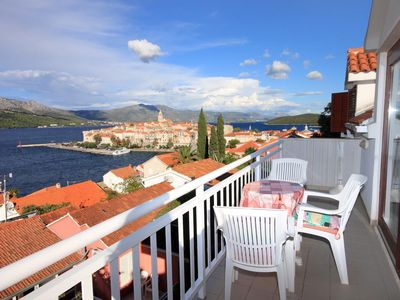 Photo for Two bedroom apartment with balcony and sea view Korčula