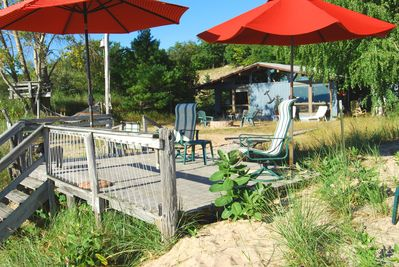 The Sandcastle - front deck overlooking Lake Michigan