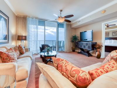Photo for Welcoming 5th-floor condo w/beach & Gulf views, shared pools, hot tub, and more