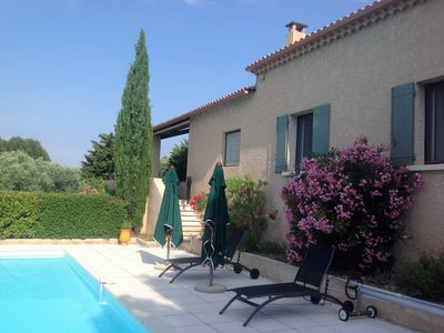 Photo for Charming villa in a quiet area, near the Ventoux and the Barroux, swimming pool with stunning views