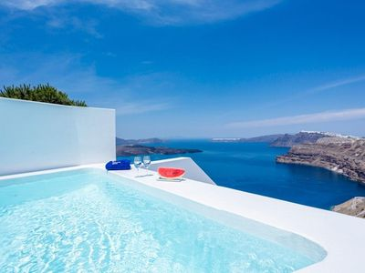Photo for Honeymoon suites Santorini with a heated private plunge pool, a hot tub and panoramic Aegean Sea vie
