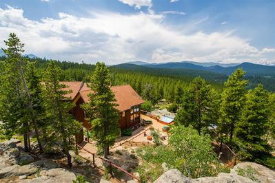 Summer Overview of Lodge, Garden and Hot Tub- VIEWS!