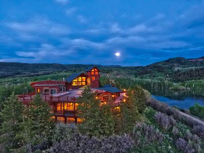 Moonrise at Timber Moose Lodge, the largest private log cabin in America