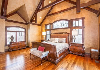 Adirondack Master Bedroom With Vaulted Timber Frame Ceilings