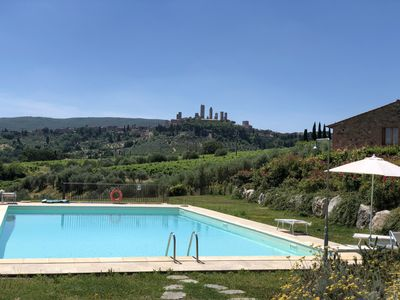 Photo for In the middle of the Tuscan countryside with swimming pool, and Super view!