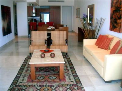 Luxurious Living Area with Wireless Internet and Large Flat Screen Satellite TV