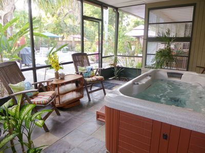 Screened spa area - COOL IN SUMMER! Huge, private back yard