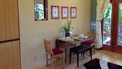 The table is perfect for dining or a bit of work. Hi-speed internet included.