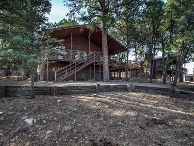 Photo for Luxury Cabin w/ WiFi, Fireplace, Grill, Big Screen TV & Outdoor Hot Tub