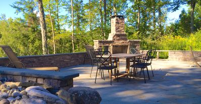 Photo for Very Private Log House Hot Tub, Outdoor Wood Fireplace, Convenient Location