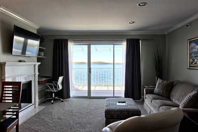 Living Room - Beautiful View of Lake Charlevoix from the Living Room