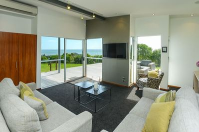 Views out to the ocean from the lounge