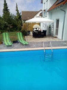Photo for Mod. Apartment. with pool u. Veranda am Brombachsee - Wellness Oasis. Dogs welcome