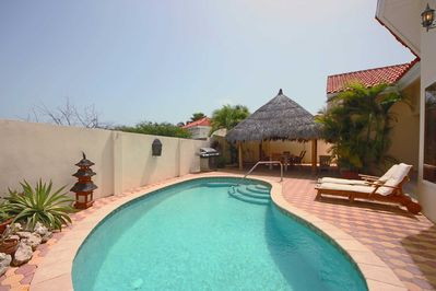 Your private outdoor area with swimming pool, BBQ grill, large palapa and outdoor furniture!