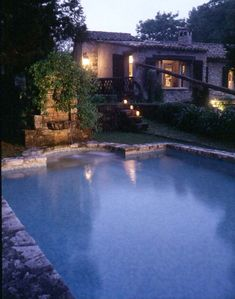 The pool at night & back of the millhouse, great for cooling off in the summer