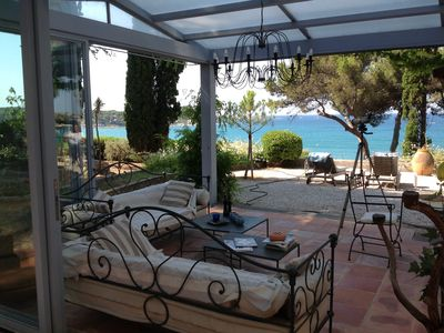 Photo for PROPERTY, 25m FROM THE BEACH, LARGE SWIMMING POOL, SEA VIEW 180 ° BANDOL BAY