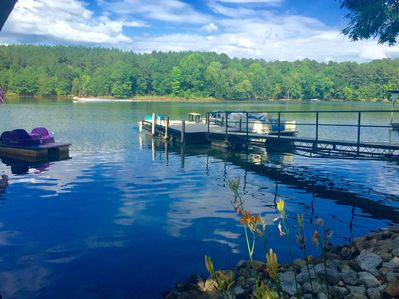 Our waterfront with the restored floating dock.