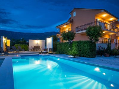 Photo for Luxury villa with private heated pool, hot tube, spacious interior, parking,...