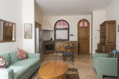 The front door of the Casita provide access to an interior and gated throughway