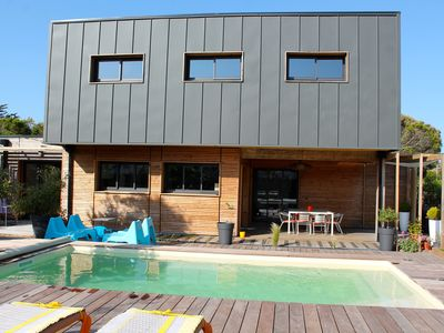 Photo for Lacanau 200m from the ocean, contemporary style house with heated pool