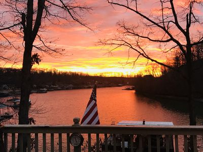 sunset overlooking the deck
