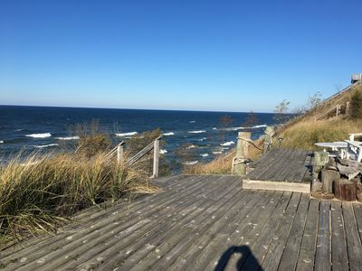 Photo for Stunning Lake Michigan views in our light, airy beachfront cottage.  Sleeps 10.