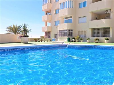 Photo for Ground floor apartment, two pools and air con, Front line Estepona marina close to shops and bars