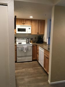 Kitchen with Keurig and k-cups available for guests.