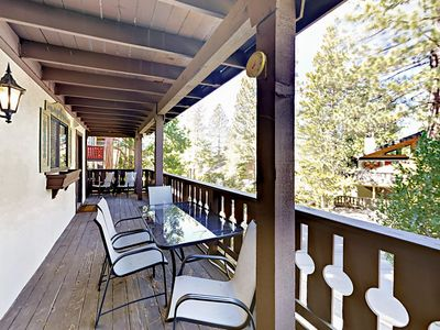 Lower Deck - Enjoy a cold beverage on the lower deck while you take in views among the pines.