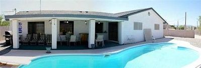 Home is wider and bigger in person!! Geez! Diving Board Pool.