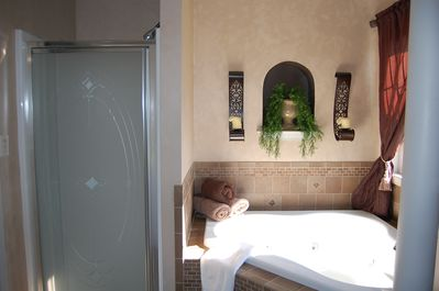 Enjoy a hot bath in our whirpool tub or a nice shower.
