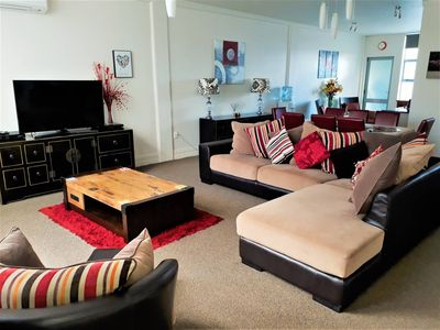 A homely open plan living room great for family movie nights.