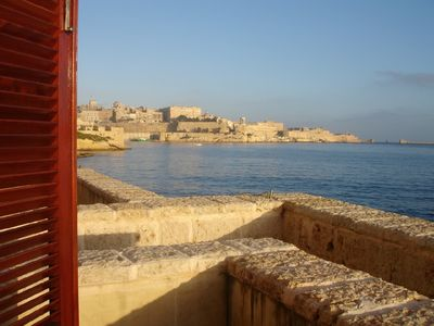 Photo for Seafront apartment in historic Three Cities with great views over Grand  Harbour