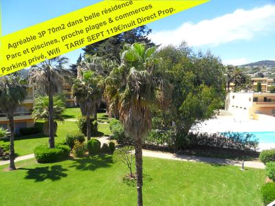 Photo for Juan Les Pins: >>>Ideal Holiday flat 2 slpgrooms-70m2 / 4 pers in beautiful complex, 300m walk to the sea (sandbeaches), swimming pools and large fenced park ideal for fam & children