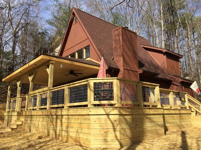 Photo for Fishing Lake-Fireplace-Hot Tub-Large New Deck-Free WiFi-Close to Everything!