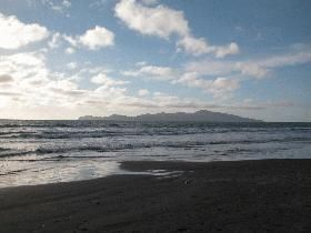 Kapiti island from the beach