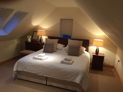 Master bedroom with very comfortable super king bed. With ensuite bathroom