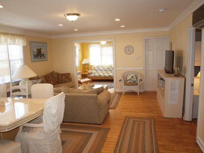 Photo for 3 Bed/ 2 Bath Corner Condo. Spacious, One Block from Beach